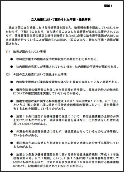 立入検査において認められた不備・過誤事例(ジャスティス債権回収)